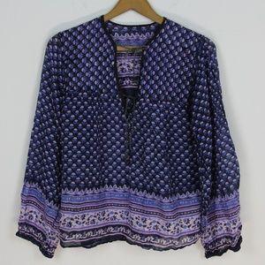 Vintage purple/blue Indian print boho cotton top